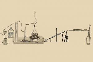 drawing of a lab extraction set-up