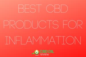 """Vector graphic poster written with """"Best CBD PRODUCTS FOR INFLAMMATION"""" with CBD OIL Review logo below"""