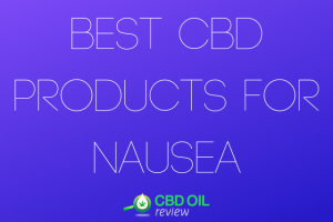 """Vector graphic poster written with """"BEST CBD PRODUCTS FOR NAUSEA"""" with CBD OIL Review logo below"""