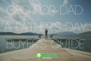 """Graphic lettering of """"CBD FOR DAD: A FATHER'S DAY BUYER'S GUIDE"""" superimposed over an image of a father standing in the docks carrying a child"""